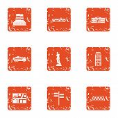 Urban Movement Icons Set. Grunge Set Of 9 Urban Movement Vector Icons For Web Isolated On White Back poster