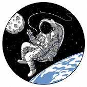 Astronaut Or Cosmonaut In Open Space Vector Illustration. Sketch Retro Design Of Astronaut In Space  poster