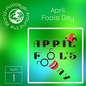 Calendar. Holidays Around The World. Event Of Each Day. Green Blur Background - Name, Date, Illustra poster