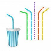 Drinking Striped And Colorful Straws For Beverage. Isolated On A White Background. Plastic Fast Food poster