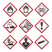stock photo of gases  - New Hazard warning signs - JPG