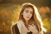 Fashion Model With Pretty Face. Beauty And Fashion. Girl On Autumn Natural Background. Season And Fa poster