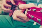 Photo Depicts Musical Instrument Ukulele Guitar In The Hands Of Player. Musician Fingers Are Playing poster