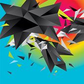 Abstract Figure Of Black Triangles On A Colorful Background