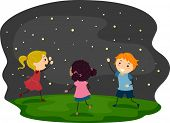 image of fireflies  - Illustration of Kids Chasing Fireflies - JPG
