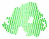 Eco Green Northern Ireland Map. Vector Hex Tile Geographic Map In Eco Green Color Tints. Abstract No poster