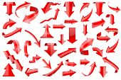 Red Arrows. Set Of Shiny 3d Icons Isolated On White Background. Vector Illustration poster