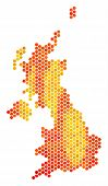 United Kingdom Map. Vector Hex Tile Geographic Map Drawn With Hot Color Tints. Abstract United Kingd poster