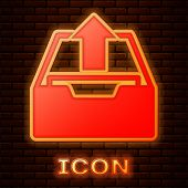 Glowing Neon Upload Inbox Icon Isolated On Brick Wall Background. Extract Files From Archive. Vector poster
