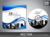 CD cover presentation design template, copy space and wave effect with urban city silhouette, editab