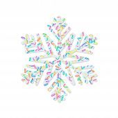 Sprinkle With Grains Of Desserts. Sprinkled Grainy Abstract Snowflake On White Background. Design Fo poster