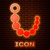 Glowing Neon Anal Beads Icon Isolated On Brick Wall Background. Anal Balls Sign. Fetish Accessory. S poster