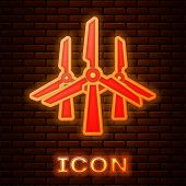 Glowing Neon Wind Turbines Icon Isolated On Brick Wall Background. Wind Generator Sign. Windmill Sil poster