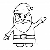 Illustration Of Santa Claus. Fairytale Character. Colorless Background. Coloring Book For Children.  poster