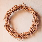 Perfect Simplicity And Warmth Of A Rural Eco-friendly Decoration. Grapevine Wreath In Warm Sunlight  poster