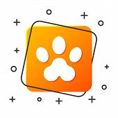 White Paw Print Icon Isolated On White Background. Dog Or Cat Paw Print. Animal Track. Orange Square poster