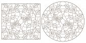 Set Of Contour Illustrations Of Stained-glass Windows With Flowers And Butterflies,  Darrk Contour O poster