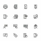 Online Shopping Icons. Set Of Line Icons. Shop Rating, Mobile Messenger, Barcode. Mobile Developing  poster