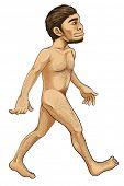 Illustratie van de vroege mens van de evolution-serie