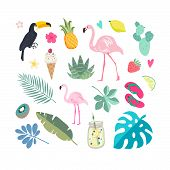 Set Of Summer Elements: Tropical Flowers, Flamingos, Toucan, Smoothies, Palm Leaves. Summer Time Lab poster