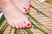 Beautiful feet leg with perfect spa pedicure on bamboo