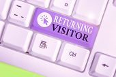 Writing Note Showing Returning Visitor. Business Photo Showcasing When Someone Returns To Your Websi poster