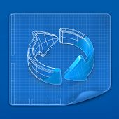 Drawing arrow blueprint, vector