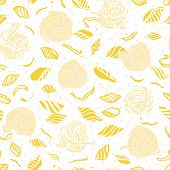 Vector Noodle Pasta Pattern. Homemade Delicious Hand Drawn Noodle Pattern On Spotted Background In P poster