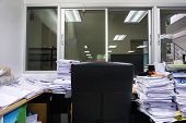 Busy, Messy And Cluttered Workplace, Full Of Documents poster