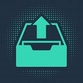 Green Upload Inbox Icon Isolated On Blue Background. Extract Files From Archive. Abstract Circle Ran poster