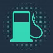 Green Petrol Or Gas Station Icon Isolated On Blue Background. Car Fuel Symbol. Gasoline Pump. Abstra poster