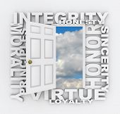 Words of several positive qualities and characteristics -- such as integrity, honesty, honor, sincer
