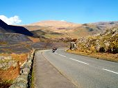 Motorcyclists On The Llanberis Pass In Snowdonia