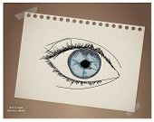 Hand draw eye  in paper .EPS10 vector