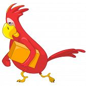 Cartoon Character Funny Parrot Isolated on White Background. Courier. Vector EPS 10.