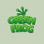 Green Frog Logo. Glossy Letters And Green Frog Paw. The Frog Icon. Logo For The Tropical World Or Zo poster