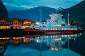 Flam, Norway. Touristic Ship Boat Moored Near Berth In Sognefjord Port. Summer Night. Norwegian Long poster