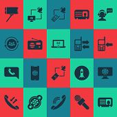 Communication Icons Set With Team Communication, Call Mobile Phone, Selfie Stick And Other Smartphon poster