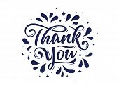 Thank You, Hand Lettering Thank You With Decorative Ink Graphic On White Background. Banner, Poster, poster