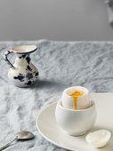 Soft-boiled Egg, Light Breakfast. White Ceramic Plate With Soft-boiled Egg, On A White Ceramic Plate poster