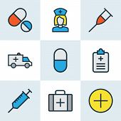 Medicine Icons Colored Line Set With Medical Sign, Medical Questionnaire, Ambulance And Other Medica poster