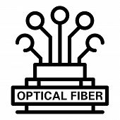 Optical Fiber Logo Icon. Outline Optical Fiber Logo Vector Icon For Web Design Isolated On White Bac poster