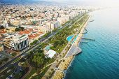 Limassol, Cyprus, Aerial View At Promenade Or Embankment. Famous Limassol Walking Alley With Palms A poster