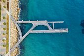 Aerial Top View Of Wooden Pier At Molos Promenade In Limassol, Cyprus. poster