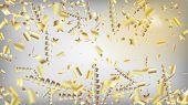 Modern Magic Glitter Confetti, Golden Foil Tinsel Trail. Horizontal Shiny Streamers Background. Cool poster
