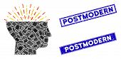 Mosaic Imagination Pictogram And Rectangle Postmodern Watermarks. Flat Vector Imagination Mosaic Pic poster