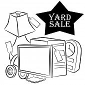 An image of a computer, lamp, headphones and clock yard sale items.
