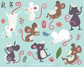 Cute Mouse New Year 2020. Year Of The Rat Greeting Design Set. Chinese Calligraphy translation Rat  poster
