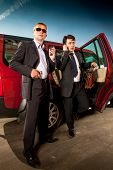 image of bodyguard  - bodyguard and its boss leave the car - JPG