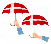 Denmark Flag Umbrella. Social Security Concept. National Flag Of Denmark Vector Illustration poster